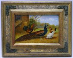"""Alfred Schönian, 1856 - 1936, """"München Hühnerhof mit Pfau, Öl auf Holz,, € 580,00"""