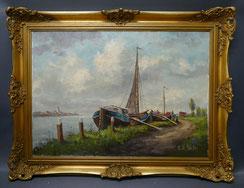 Fischerboote, Öl auf Leinwand, sign. B. v.d. Heide, Impressionismus, Goldrahmen , € 600,00