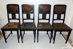 er Satz Eichenstühle,1910, Lederpolster, unrestauriert, € 400,00