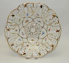 Prunkschale, Meissen, Porzellan, Streublume, goldstaffiert, Ø 28,5 cm, 1. Wahl, € 295,00