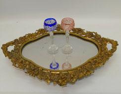 Bronze Tablett Frankreich 1870,alte Vergoldung,mit Kristallspiegel,48,5 cm,3,5Kg, € 265,00