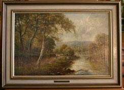 Sidney Y.Johnson,Ölgemälde Flusslandschaft mit Angler, € 650,00