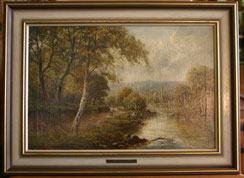 Sidney Y.Johnson,Ölgemälde,On the River Dart Flusslandschaft mit Angler, € 650,00
