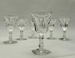 Val St. Lambert, 6x Sherrygläser,Lalaing,Eingestochene Luftblase,Kristall,12,5cm, € 294,00