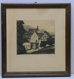 """Alfred Holler, Radierung,""""Stolberg im Vogelsang"""", Burg, Altstadt, ca. 1920 , € 85,00"""