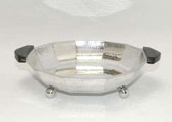 Ouist Art-Deco Silberschale, schwarze Holzgriffe, Plated, Ø 22,0 cm, € 130,00