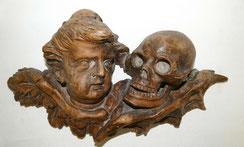 Memento Mori, Vanitas Darstellung, Barock Engel und Schädel, Skull, 44,0 cm, € 1800,00