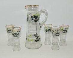 Jugendstil, Glas Saftkrug, 5 x Gläser, Emaillemalerei mit Goldrand, 2 Liter, € 290,00