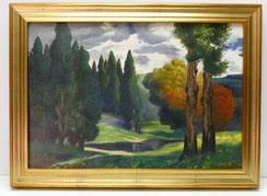 Rüdisüli, Schweizer Maler, Parklandschaft, Öl auf Leinwand, € 1250,00