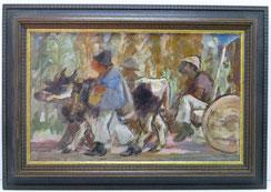 Ochsenkarren, Thailand, Oil on Canvas, Expressionistischer Stil , € 480,00