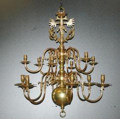 Flämischer Barock Leuchter, 12-flammig, Doppeladler, Messing, 90,0 cm, Ø 82,0 cm, € 2650,00