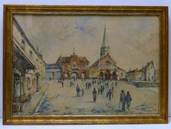 Roger Belliot, 1927, Aquarell, Kathedrale, Goldrahmen, 55,0 cm x 38,0 cm, € 200,00