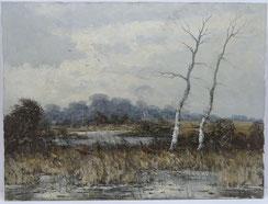 Helmut Reuter,Düsseldorf,Winterlandschaft mit Fasanen und Birken,Öl auf Leinwand , € 350,00