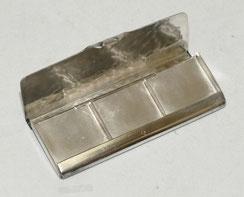 Briefmarken Dose, WMF, versilbert, Hammerschlag, 3 Fächer, 7,1 x 3,0 x 0,7 cm, € 75,00