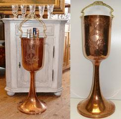 WMF,großer Kupfer Sektkühler,Champagner Kühler,1925-30, Art-Deco,91,0 cm,11,2 kg, € 935,00