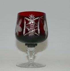 Kristall Cognac Schwenke, rubinrot überfangen, Sternschliff, Blumenschliff,11 cm, € 35,00