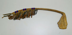 Native american ceremonial Dance Rattle, Metall, Rehleder, Beads,50 cm,20 inches, € 380,00