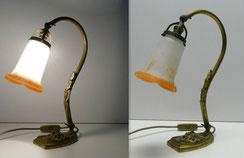 Jugendstil Tischlampe, Noverdy France,Pate de Verre, Bronzemontierung, orange , € 380,00