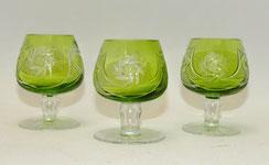 3x Kristall Likör Schwenker, grün überfangen, Schleuderstern, Palmetten, 8,3 cm, € 60,00