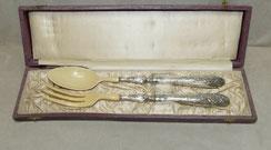 Salat Besteck, Frankreich, Minerva, 925er Silber, Bein, € 170,00