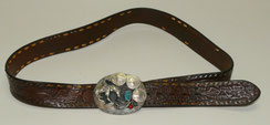 Vintage American Leather Belt with silver Belt buckle turquoise nugets, 110,0 cm, € 375,00