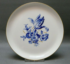Porzellan Wandteller, Meissen, Blaue Blume, Goldstaffiert, Ø 18,0 cm, 1. Wahl, € 69,00