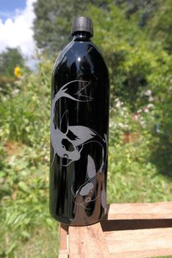 Miron glas violettglas ultraviolett schutz struktur blume des lebens blumedeslebens lebensblume flower of life 1 liter bpa frei wasser trinkflasche glasflasche trinken kois