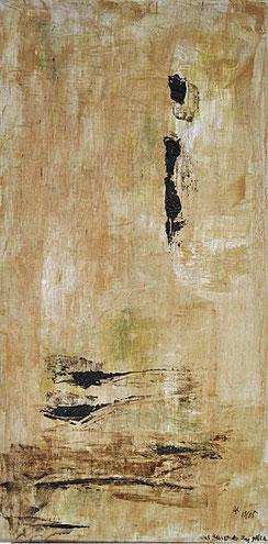 Was kannst Du ihm geben _______________ Acryl auf Holz  2005  40x20 cm