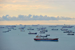 vessels and cargo ships on the ocean