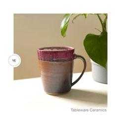 Kaffeebecher anthrazit/rot, ©Keramikatelier Sabine Schönbohm