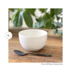 Porridge Schale weiß Bronte ©Sabine Schönbohm, cup, Teetasse, Kaffee, Tee, Gewürzschälchen,
