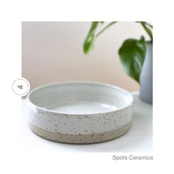 Spots flache Schale weiß/glänzend 01, ©Keramikatelier Sabine Schönbohm, Schale für Salate, Gemüse und Porridgee