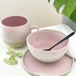 Porridge Schale rosa/weiß, ©Keramikatelier Sabine Schönbohm