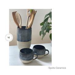 Spots Vase blaugrau, ©Keramikatelier Sabine Schönbohm