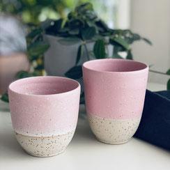 Spots Becher rosa/weiß für den perfekten Kaffee oder Tee ©Keramikatelier Sabine Schönbohm
