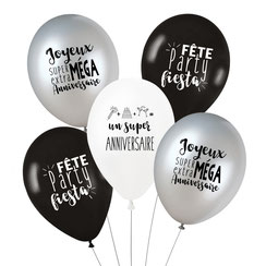 DECO ANNIVERSAIRE GARCON THEME BLANC NOIR ARGENT- BOY BIRTHDAY PARTY DECORATION