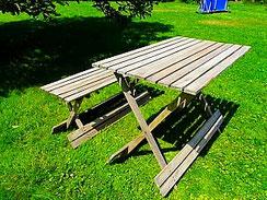 Mit Bergotec Teak-Reiniger/Entgrauer behandeltes Holz