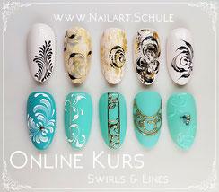 Swirls lines Schnörkel Linien Online Nailart Kurs Academy