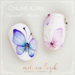 Nailart Online Kurs Aquarell Watercolour Masters Class Academy Melanie Lazik