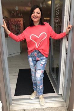 Pullover mit Herz koralle, rosa , hellblau