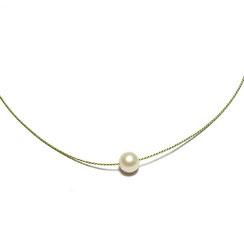 leichte Stoffkette mit weißer Perle, Halskette aus Stoff, Perlenkette