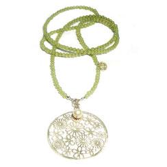 """Feine lange Halskette """"opera"""" Kette mit XL Blütenornament / Mandala aus 925 Silber."""