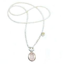 weiße feine Perlenkette 80 cm lang mit großem rosa Rosenquarzsteinanhänger 925 Sterlingsilber