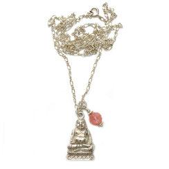 lange Halskette,Yoga Kette mit spirituellen Buddha Anhänger 925er Silber