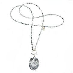 Halskette, 80 cm lange Rutilquarzkette handmade Schmuck in 925 Silber gefertigt in Kleinserien im online Shop von perlenpool