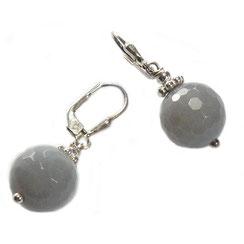 Modische hängende Steinohringe aus Achatstein in grau opak.