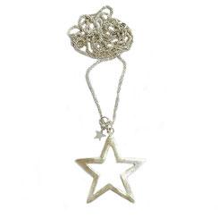 80cm lange Silberkette, Kugelkette,  Halskette großem XL fünfeck Sternanhänger aus 925 Silber