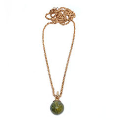 Halsschmuck, Halskette, Steinkugel Kette, Kette roségold vergoldet mit oliv-grüner Steinkugel, Labradoritsteinkugel