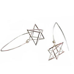 extravaganter langer hängende Ohrhänger Stern, 925 Silber