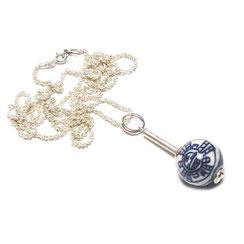 Fließend leichte Halskette 925 Silber mit Kugelanhänger, Porzellankugel, blau-weiß